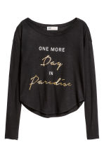 Printed top - Black -  | H&M 2