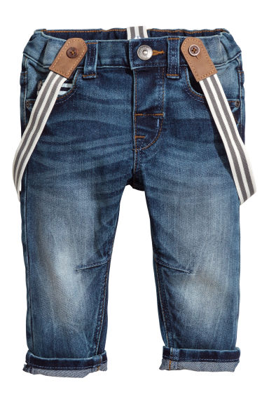 Jeans with braces - Denim blue - Kids | H&M 1