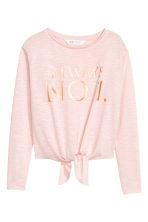 Top with tie-front detail - Light pink -  | H&M CN 2