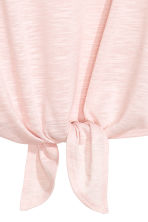 Top with tie-front detail - Light pink -  | H&M CN 3