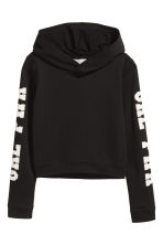 Printed hooded top - Black - Kids | H&M 2