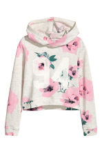 圖案連帽上衣 - Light grey/Floral - Kids | H&M 2