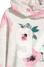 圖案連帽上衣 - Light grey/Floral - Kids | H&M 3