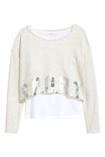 圖案上衣 - Light beige marl -  | H&M 2