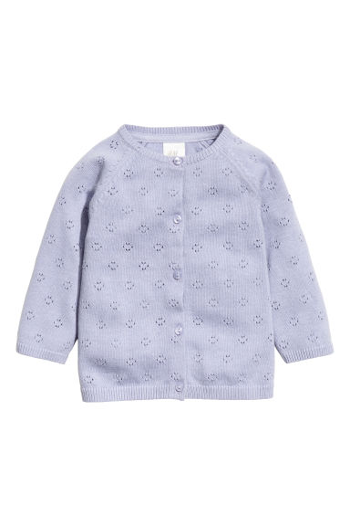 Fine-knit cotton cardigan - Purple -  | H&M 1