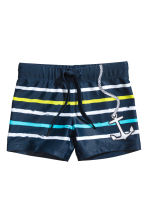 Patterned swimming trunks - Dark blue/Striped - Kids | H&M 1