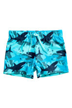 Patterned swimming trunks - Turquoise/Sharks - Kids | H&M CN 1