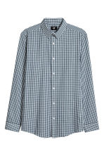 Easy-iron shirt Slim fit - Dark green/Checked - Men | H&M CN 1