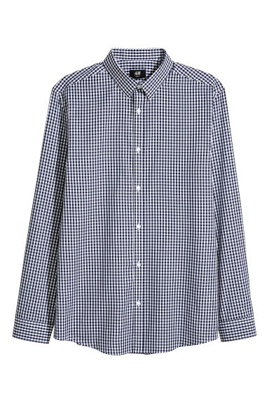 Easy-iron shirt Slim fit - Dark blue/Checked - Men | H&M 1
