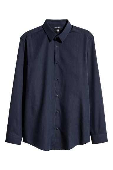 Easy-iron shirt Slim fit - Dark blue/Chambray - Men | H&M CN
