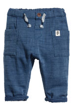 Cotton trousers - Dark blue marl -  | H&M CN 1