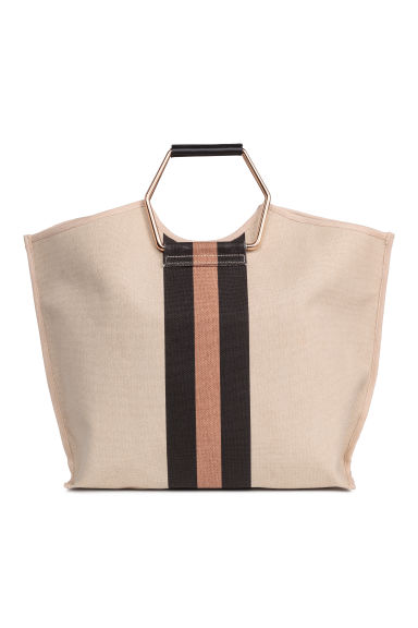 Cotton canvas shopper - Light beige - Ladies | H&M CN 1