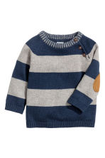 Knitted cotton jumper - Dark blue/Striped -  | H&M 1