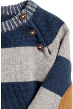 Knitted cotton jumper - Dark blue/Striped -  | H&M 2