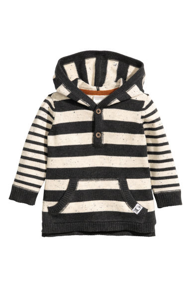 Fine-knit hooded jumper - Dark grey/Striped -  | H&M 1