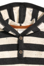 Fine-knit hooded jumper - Dark grey/Striped -  | H&M 2