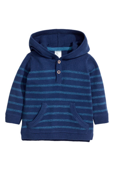 Fine-knit hooded jumper - Dark blue/Striped -  | H&M 1
