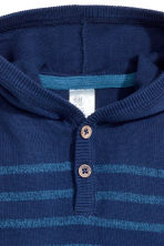 Fine-knit hooded jumper - Dark blue/Striped -  | H&M CN 2