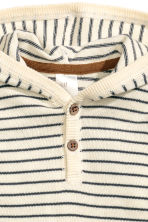 Fine-knit hooded jumper - Natural white/Striped -  | H&M CN 2