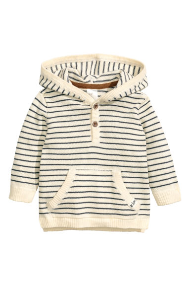 Fine-knit hooded jumper - Natural white/Striped -  | H&M CN