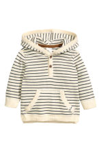 Fine-knit hooded jumper - Natural white/Striped -  | H&M CN 1