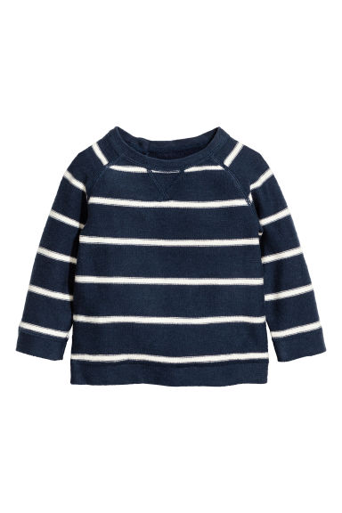 Fine-knit jumper - Dark blue/Striped - Kids | H&M CN 1