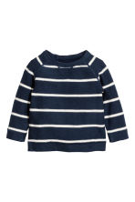 Fine-knit jumper - Dark blue/Striped -  | H&M 1