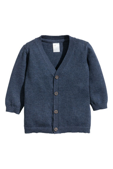 Fine-knit cardigan - Dark blue marl - Kids | H&M CN 1