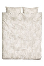 Leaf-patterned duvet set  - Light beige - Home All | H&M CN 1