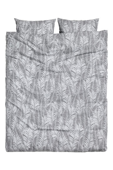 Leaf-patterned duvet set  - Grey - Home All | H&M CN 1