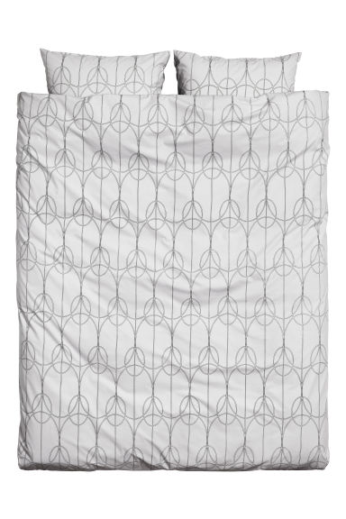 Patterned duvet set double - Light grey - Home All | H&M CN