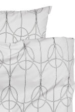 Patterned duvet set double - Light grey - Home All | H&M CN 2