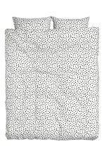 Spotted duvet cover set - White/Black - Home All | H&M CN 2
