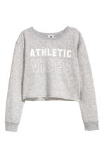 Cropped sports top - Grey marl - Kids | H&M CN 2