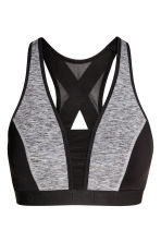 Sports bra High support - Black/Grey marl -  | H&M 2