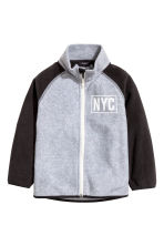 Fleece jacket with print motif - Grey marl/New York -  | H&M CN 2
