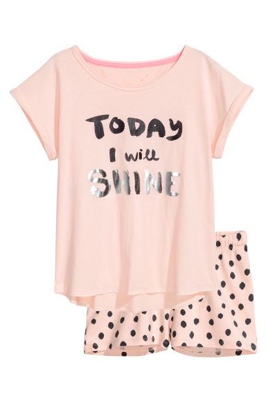 Jersey pyjamas - Powder pink - Kids | H&M