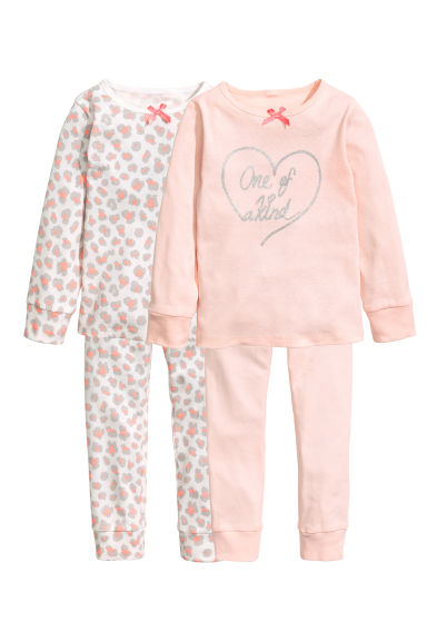 2-pack jersey pyjamas - Powder pink/Hearts - Kids | H&M 1