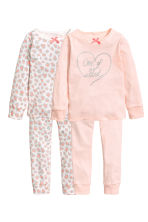 2-pack jersey pyjamas - Powder pink/Hearts - Kids | H&M CN 1