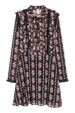 Chiffon dress with frills - Black/Roses - Ladies | H&M 2