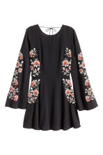 Embroidered dress - Black/Roses - Ladies | H&M CA 2
