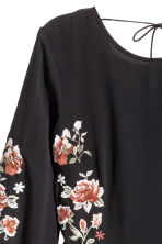 Embroidered dress - Black/Roses - Ladies | H&M CA 3