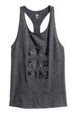Sports vest top - Dark grey marl - Ladies | H&M CN 2