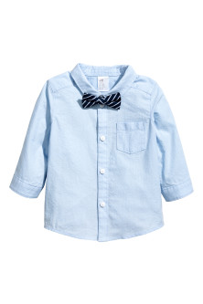 Cotton shirt with bow tie