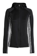 Fleece jacket with a hood - Black/Grey marl - Ladies | H&M CN 2