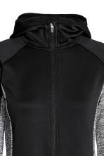 Fleece jacket with a hood - Black/Grey marl - Ladies | H&M CN 3