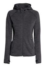 Fleece jacket with a hood - Dark grey marl - Ladies | H&M GB