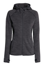 Fleece jacket with a hood - Dark grey marl - Ladies | H&M CN 2