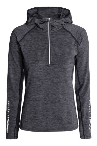Hooded winter running top - Dark grey marl - Ladies | H&M 1