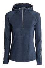Hooded winter running top - Dark blue marl - Ladies | H&M CN 2